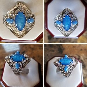 Beautiful Lab Made Blue Opal Ring Size 9